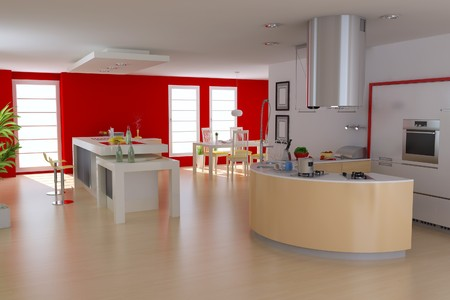 3d render interior of modern kitchen and dining room Stock Photo - 7541109