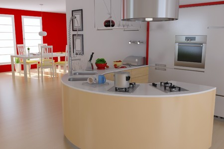 3d render interior of modern kitchen and dining room photo