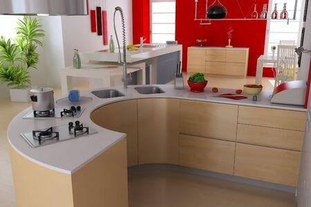 3d render modern kitchen