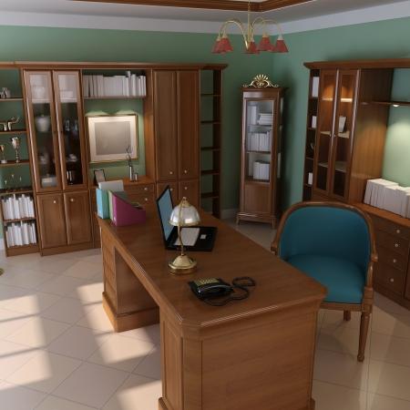 3d render interior of luxury classic study room Reklamní fotografie