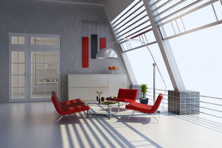 3d render home interior with modern style Stock Photo - 7712008
