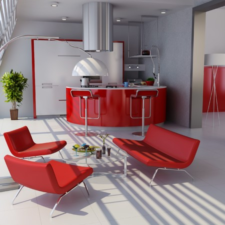3d render home interior with modern style Stock Photo - 7712004