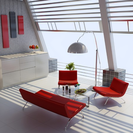 3d render home interior with modern style Stock Photo - 7712005