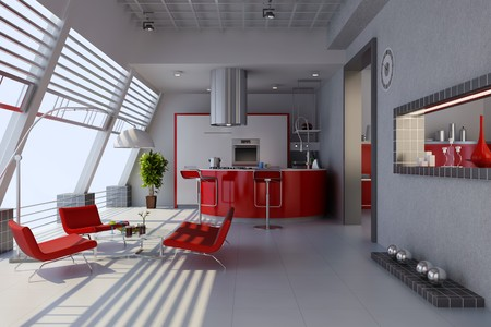 3d render home interior with modern style Stock Photo - 7712006