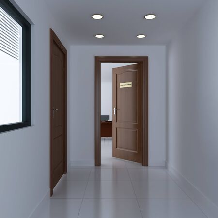 3d render the door of manager office Stock Photo