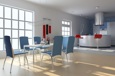 dining room with modern style.3d render Stock Photo - 7712028