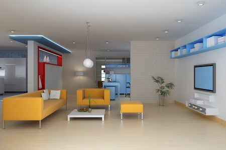 living room with modern style.3d render Stock Photo - 7712010
