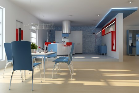 dining room with modern style.3d render Stock Photo - 7712029