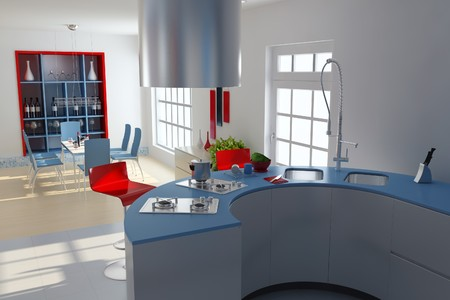 kitchen and dining room with modern style.3d render Stock Photo - 7712012