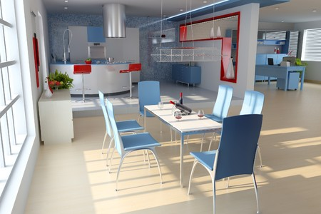 dining room with modern style.3d render Stock Photo - 7712032
