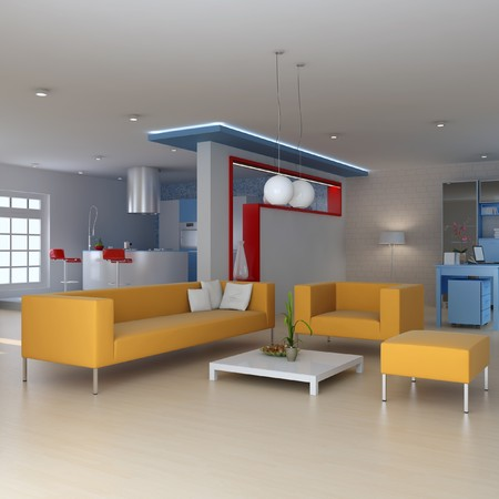 modern sofa: living room with modern style.3d render Stock Photo
