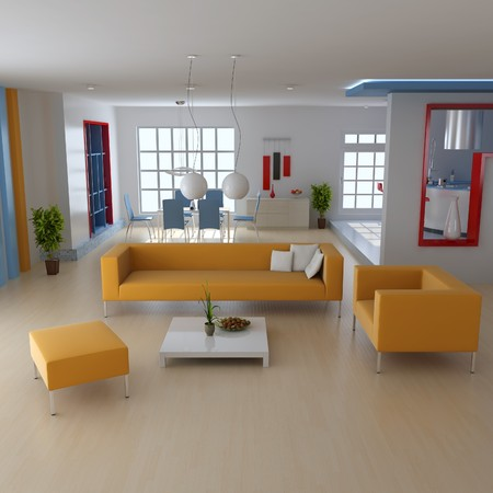 living room with modern style.3d render Stock Photo - 7712033