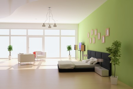 bedroom with modern style.3d render