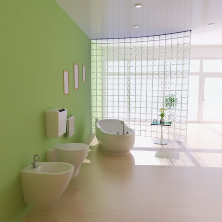 bathroom with modern style.3d render Stock Photo
