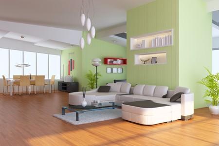 living room with modern style.3d render Standard-Bild