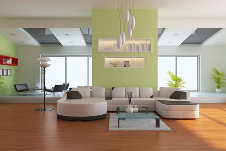 ceiling lamp: living room with modern style.3d render Stock Photo