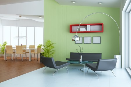 living room with modern style.3d render photo