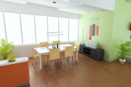 dining room with modern style.3d render photo