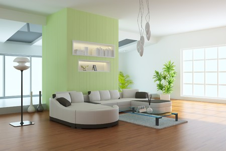 living room sofa: living room with modern style.3d render Stock Photo