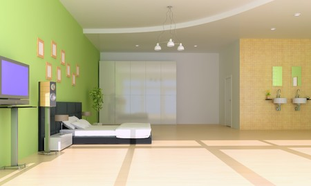 bedroom with modern style.3d render photo
