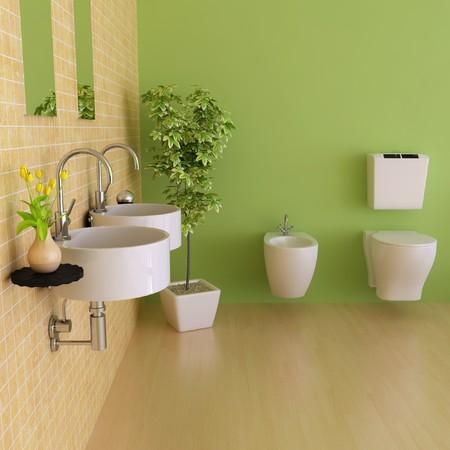 lavabo salle de bain: salle de bains avec rendu moderne style.3d  Banque d'images