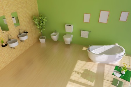 bathroom with modern style.3d render Stock Photo - 7845318