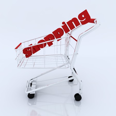 3d shopping cart with shopping characters  Stock Photo