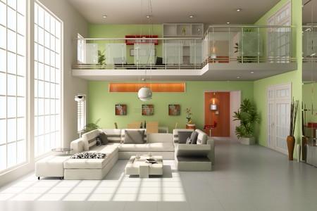modern living room.3d render Banque d'images