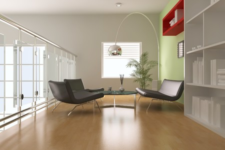 modern living room.3d render Stock Photo - 7938811