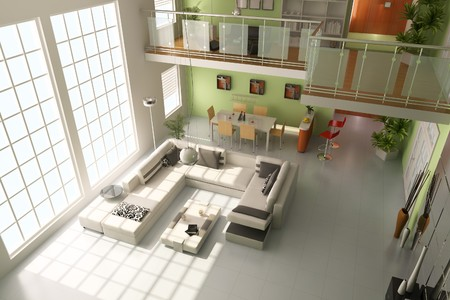 modern living room.3d render Stock Photo - 7938813