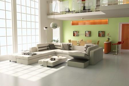 modern living room.3d render Stock Photo - 7938804