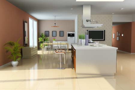 kitchen with modern style.3d render Stock Photo - 8032355