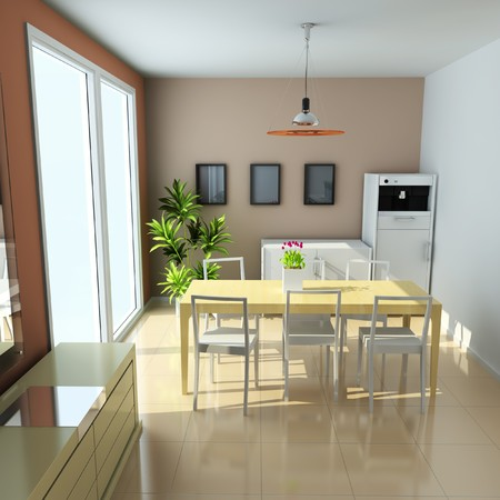 dining room with modern style.3d render Stock Photo