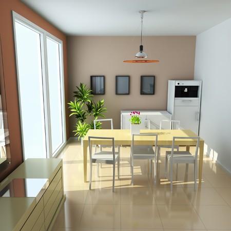 dining room with modern style.3d render Standard-Bild