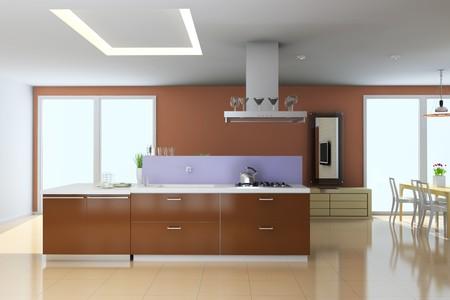 kitchen with modern style.3d render
