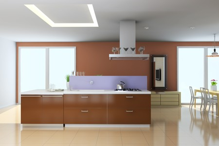 kitchen with modern style.3d render Stock Photo - 8032349