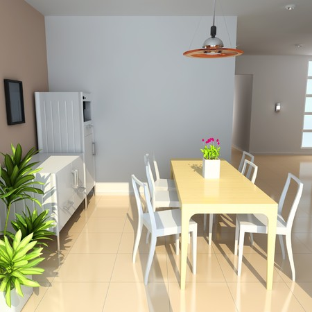table and chairs: dining room with modern style.3d render Stock Photo