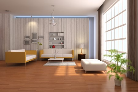 3d render inter of living room with modern style Stock Photo - 8245499