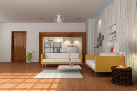 3d render interior of living room with modern style Stock Photo - 8245495