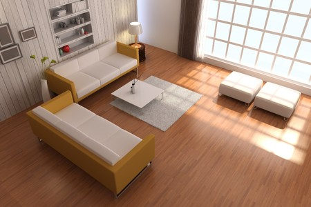 3d render inter of living room with modern style Stock Photo - 8245498