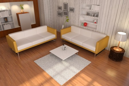 3d render inter of living room with modern style Stock Photo - 8245500