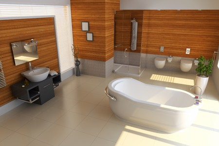 bathroom faucet: el cuarto de ba�o con procesamiento de style.3d moderna