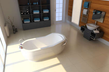the bathroom with modern style.3d render 版權商用圖片