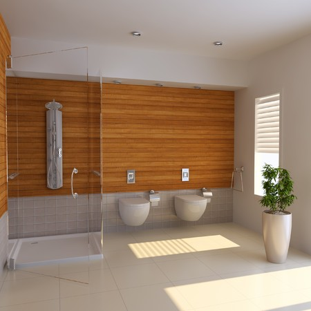 the bathroom with modern style.3d render Stock Photo