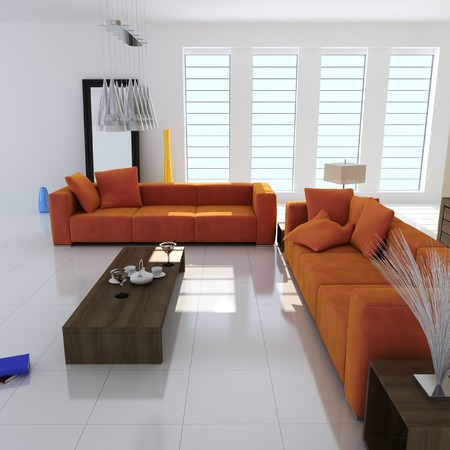living room with modern style.3d render Stock Photo - 8245490