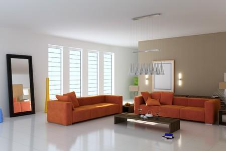 Wohnzimmer mit modernen style.3d render Standard-Bild - 8245485
