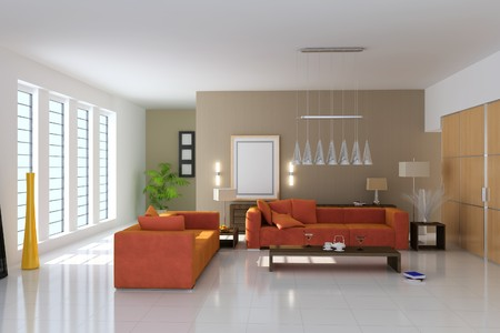 living room with modern style.3d render Stock Photo