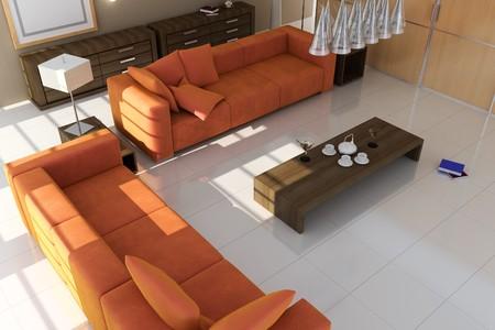Wohnzimmer mit modernen style.3d render Standard-Bild - 8245497