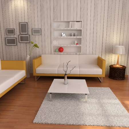 3d render interior of living room with modern style photo