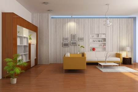 3d render inter of living room with modern style Stock Photo - 8319745